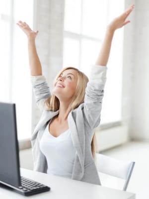 woman feeling successful